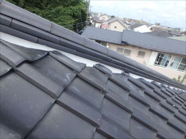 瓦屋根の漆喰はすべて補修。眩い白です。