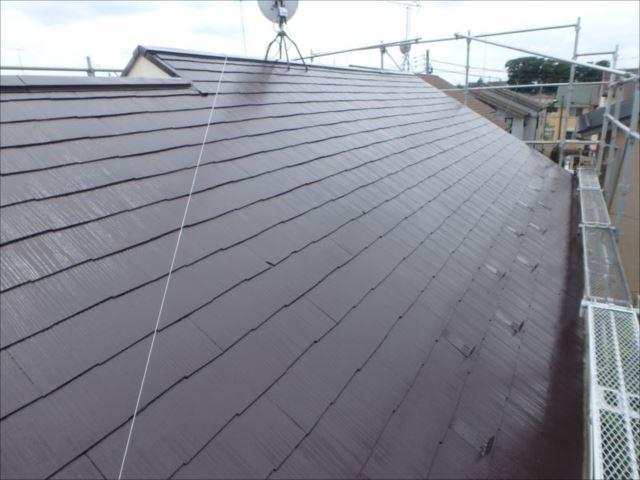 外壁とのコーディネートを考慮して屋根はココナッツブラウン色で塗装。見事な艶が美しい!