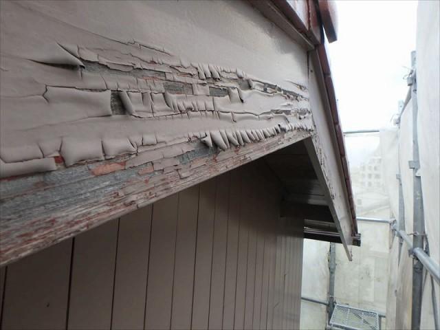 木の破風板塗装前