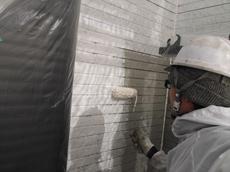 外壁の下塗りです。丁寧に塗装していきます。