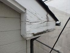 破風板は腐朽が進み貼り替えないといけない状態です。
