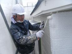 外壁の塗装に取り掛かります。まずは下塗りです。