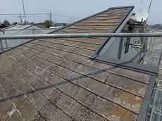 施工前の屋根です。頑固なコケが発生しています。
