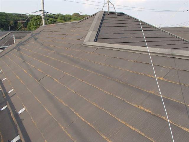 屋根には年数なりの汚れとコケが付着していました。