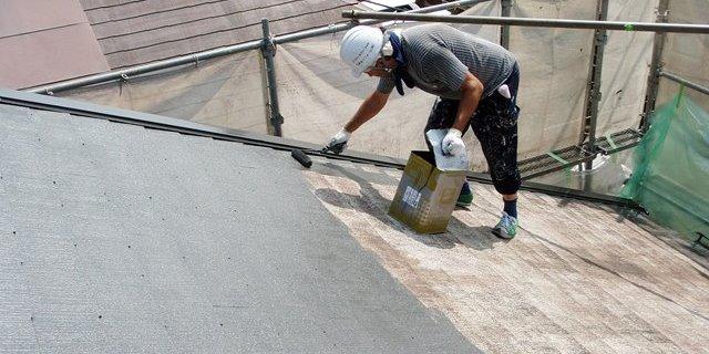 スレート屋根の遮熱塗装
