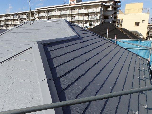 グレーの屋根と奥の家の黒い屋根の比較