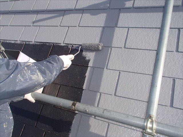 屋根遮熱塗装N様邸屋根中塗り