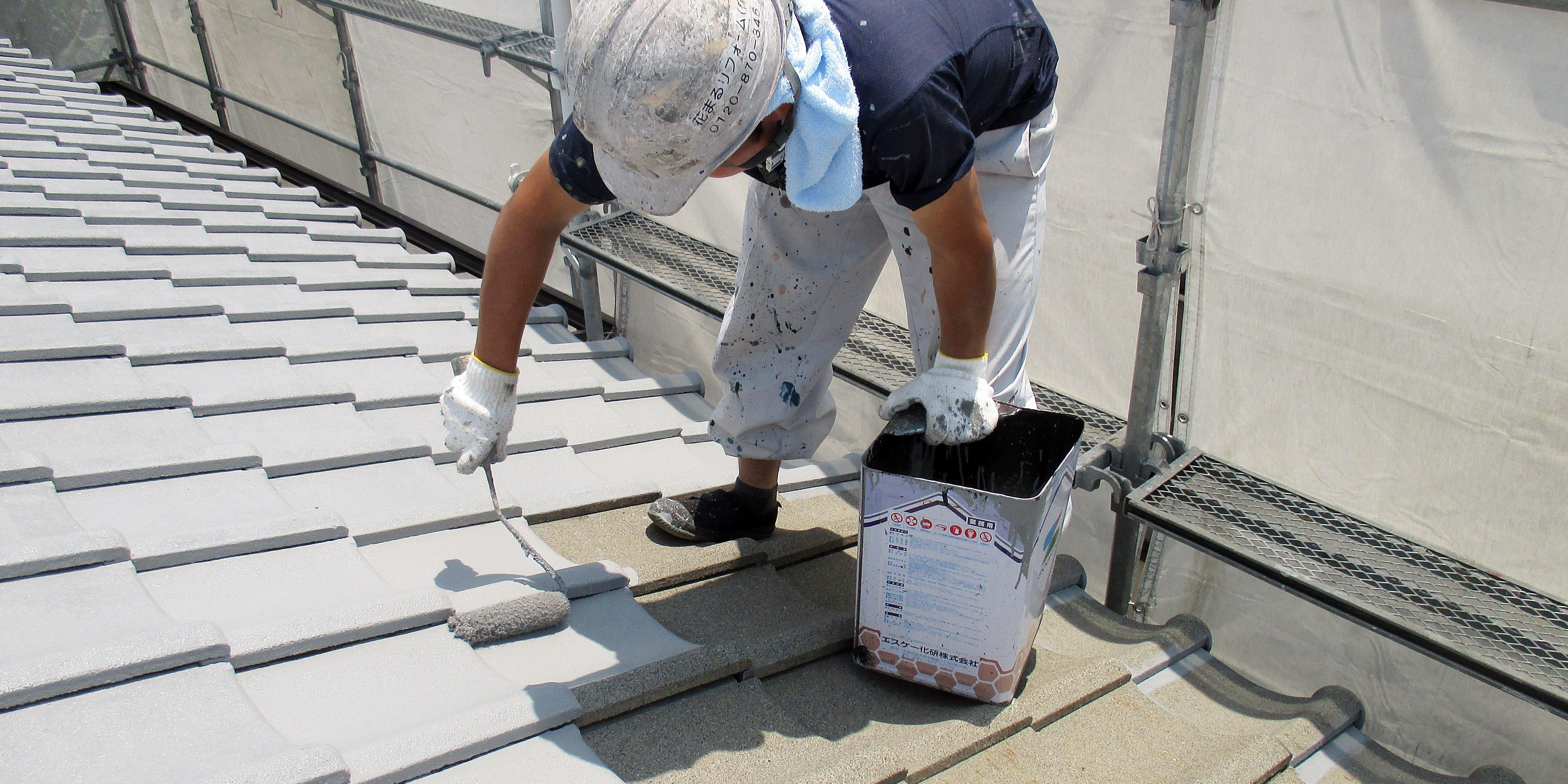 セメント瓦の遮熱塗装