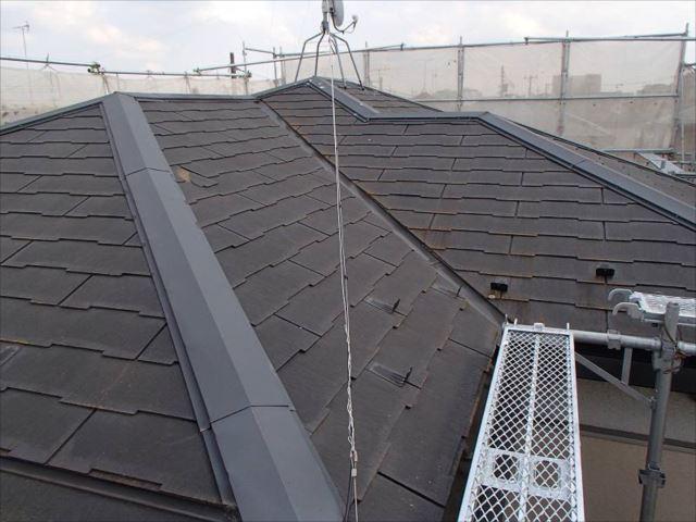 施工前の屋根です。全体的にコケが覆っています。
