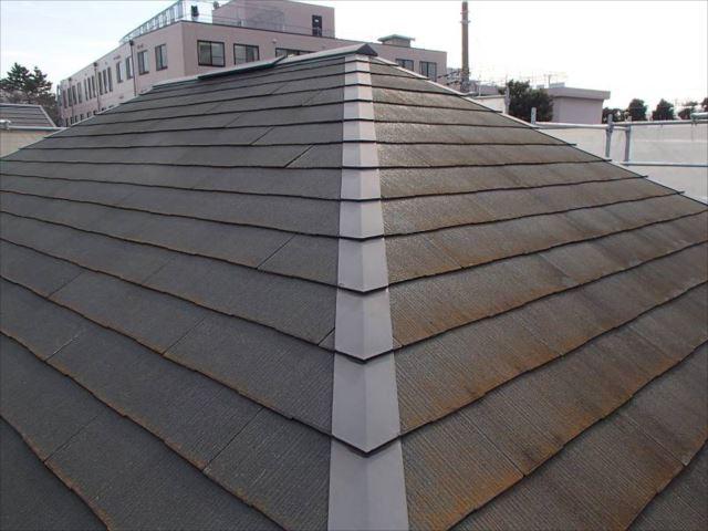 屋根には年数相応の汚れとコケが付着しています。