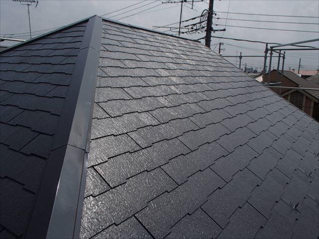 施工後の屋根です。遮熱塗料で美しく仕上がりました。