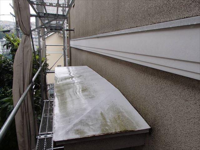 外壁や庇にもコケがはびこっていました。