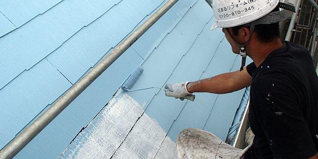 水色で屋根を遮熱塗装
