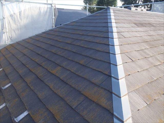 屋根全体にコケが付いています。ちょうど塗り替え頃です。
