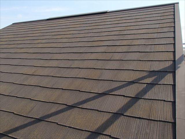 施工前の屋根です。全面にコケが生えています。