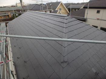 屋根は遮熱塗料で塗替え。セピアブラウンという花まるリフォームにとっては標準色扱いの色です。