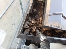 雨樋に堆積したゴミとドロ。結構な量を掻き出しました。