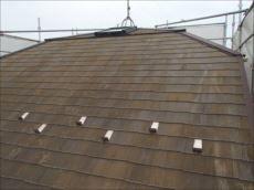 施工前の屋根です。屋根にはコケがビッシリと付いています。