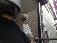外壁の下塗り作業です。