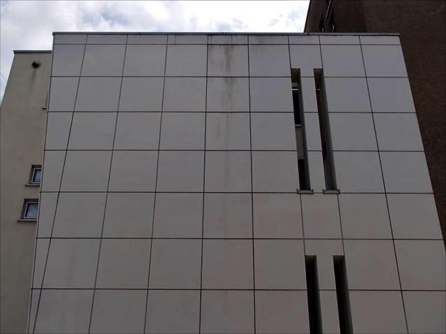 施工前のタイル外壁です。白いタイルが雨染みで黒くなっています。