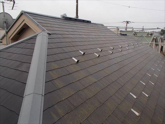 施工前の屋根です。全体的にコケに覆われていました。
