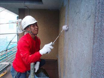 屋根下塗り、外壁下塗り、養生