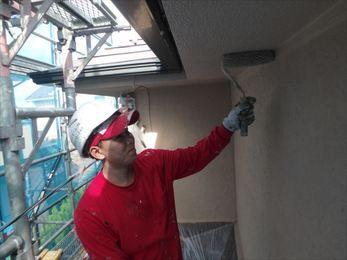 屋根上塗り、外壁上塗り