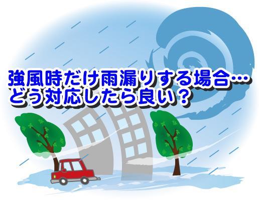 強風時だけ雨漏りする場合…どう対応したら良い?