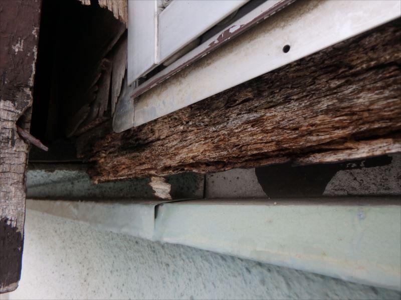 腐朽した窓枠
