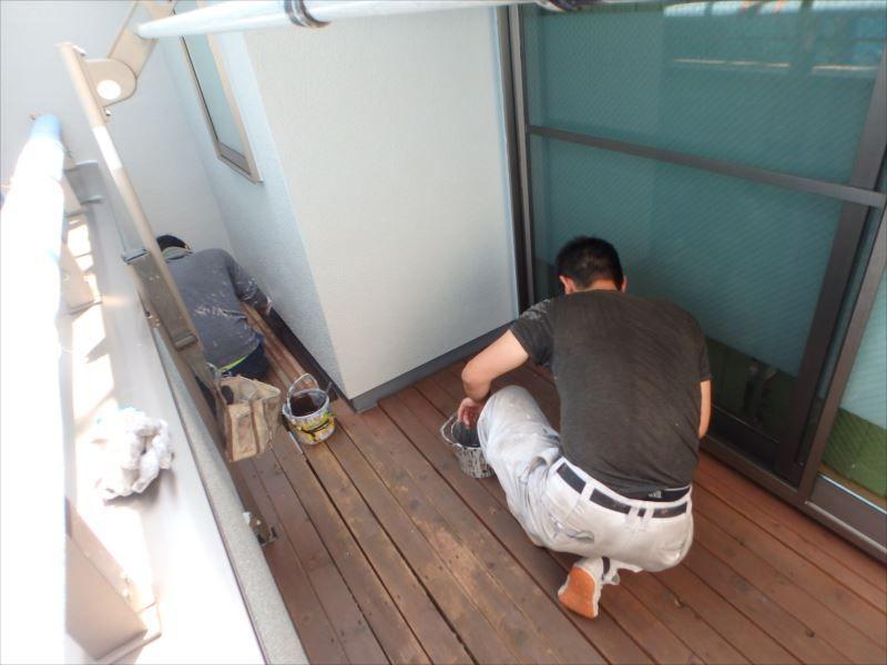 木部塗装 バルコニー床