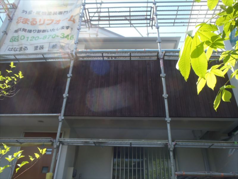 木部塗装 バルコニー外壁