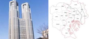 都庁、地図