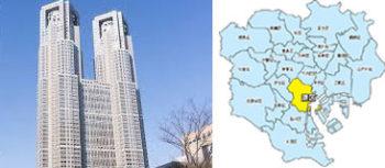 都庁、23区地図
