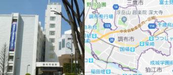 調布市役所、地図