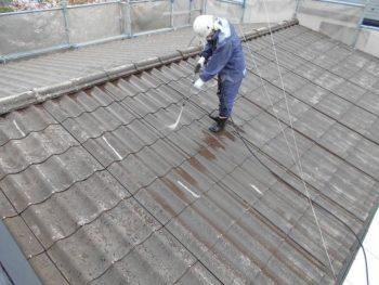 セキスイU瓦屋根の高圧洗浄