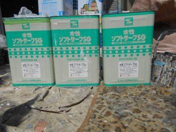 これが外壁の下塗り塗料「水性ソフトサーフSG」の一斗缶です