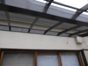 バルコニー屋根下地の木部塗装