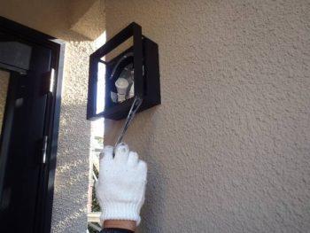 玄関外灯 ハケ塗装