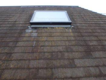 屋根を下の角度から。 出窓の周りにコケが集中しています。