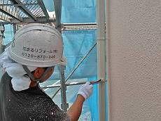 雨樋も白系の調合色で塗り替え。外壁に似合う明るい雰囲気が出ています。