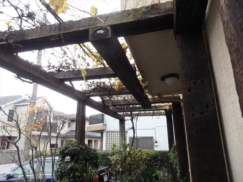 庭の藤棚の柱部分等に傷みがありました。