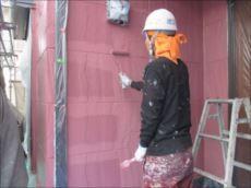 外壁の上塗り。 1階と2階を異なる色で塗り分けています。 こちらは1階部分です。