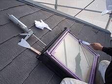 施工前、雨漏り補修を屋根の各所に行います。