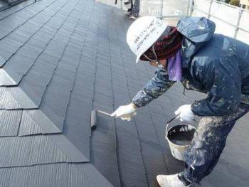 【屋根塗装】上塗り (遮熱塗料:水性クールタイトSi)
