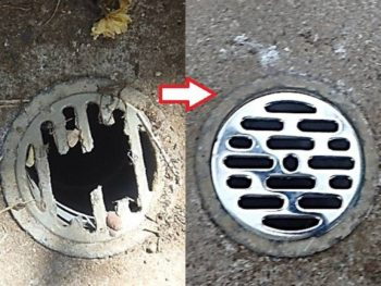 屋外排水溝のふたを交換。
