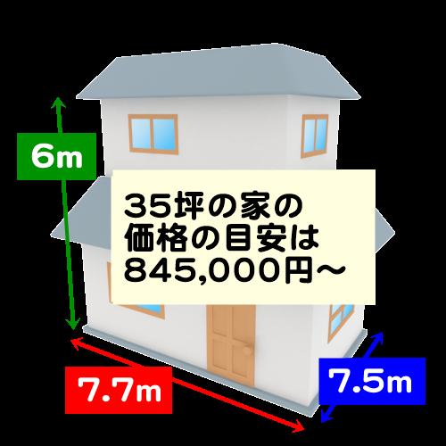 35坪の家の価格の目安は845,000円~