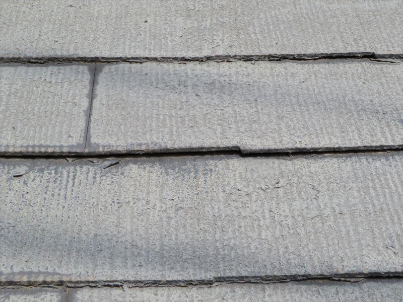 屋根のスレートの縁が変色していて、一部はがれかけています。