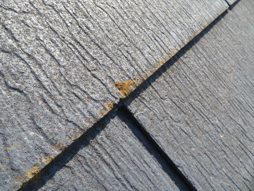 スレート瓦の先端に茶色い汚れが付いているものが多くありました。