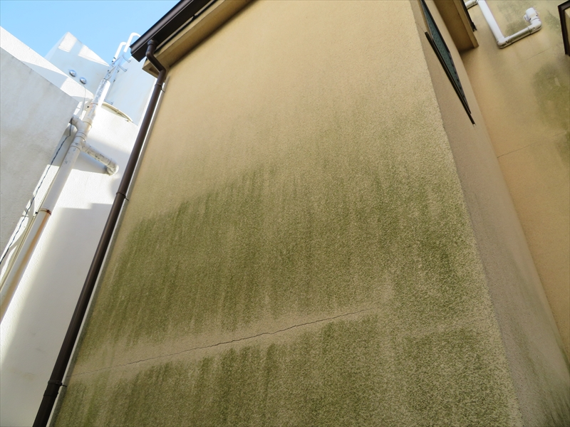 外壁に汚れがついていますが、ひびが入った部分は汚れていないので、ひびが目立ちます。