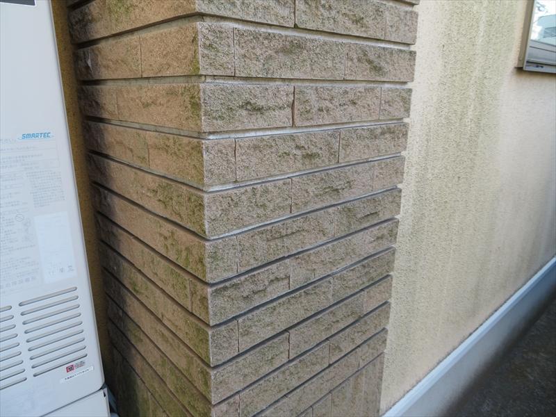日当たりの悪い外壁部分には緑の苔汚れがついています。